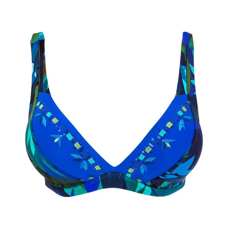 Sujetador bikini triángulo con aros. Aquarelle Nautique
