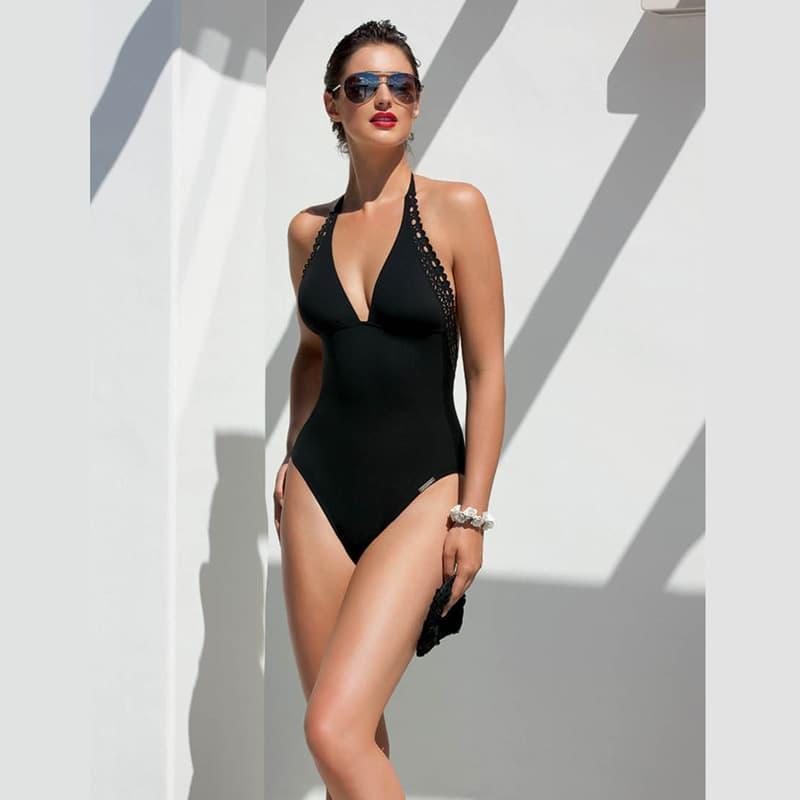 Bañador sin aros espalda profunda. Ajourage Couture
